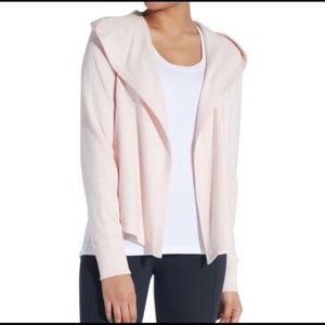 CALIA pink hooded open front waterfall cardigan